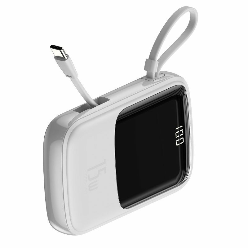 Baseus Q pow Digital Display 3A 15W Power Bank 10000mAh (Type-C kábellel) Fehér