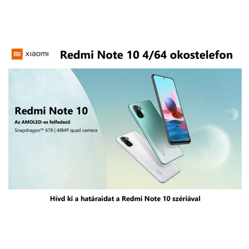 Xiaomi Redmi Note 10 4GB RAM 128GB okostelefon - Lake Green ( 2 Év Gyártói Háztól-Házig Garanciával )