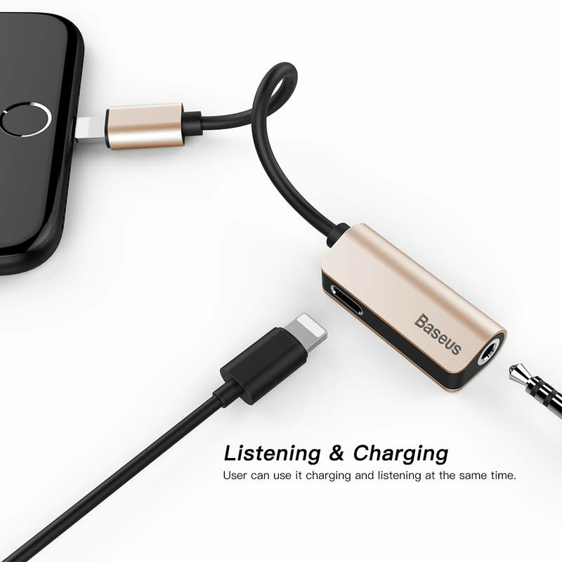 Baseus Átalakító Lightning Iphone to  3.5 mm Jack audio arany