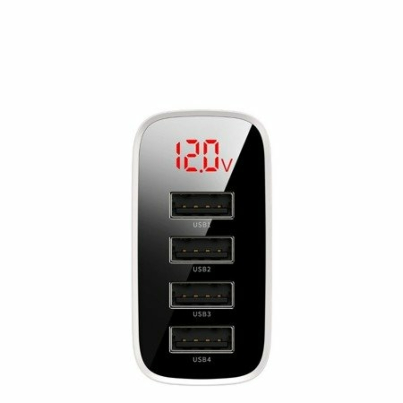 Baseus Mirror Lake Digitális fogyasztáskijelzés  4xUSB Töltőadapter 30W Fehér